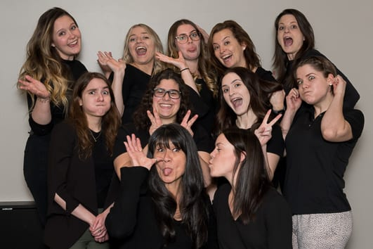 Group photo of Moveo Orleans Physiotherapists and clinic staff being silly!